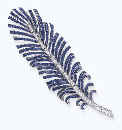 Feather with Diamonds and Sapphires