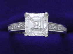 1.74-carat Asscher Cut diamond ring