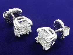 4.22 total carat weight Asscher Cut diamond earrings in 14-karat white gold basket style mountings with split prong heads