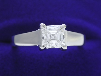 Asscher Cut Diamond Ring: 0.65 carat in Trellis Style Mounting
