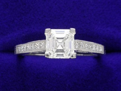 Asscher Cut Diamond Ring: 0.94 carat with 0.32 tcw Tacori designer mounting