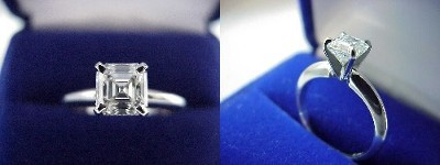Asscher Cut Diamond Ring: 1.00 carat in four-prong Solitaire style mounting