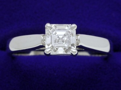 Asscher Cut Diamond Ring: 1.01 carat weight in Leo Ingwer Cathedral mounting