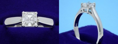 Asscher Cut Diamond Ring: 1.01 carat in Leo Ingwer Cathedral style mounting