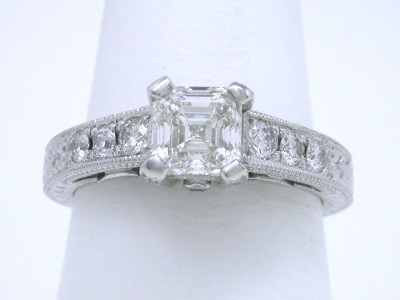 Asscher and Round Pave-Set Diamond Ring