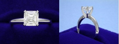 Asscher Cut Diamond Ring: 1.10 carat in four-prong Solitaire style mounting