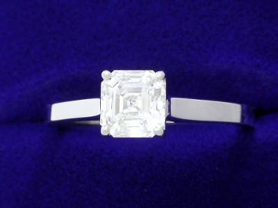 Asscher Cut Diamond Ring: 1.11 carat with 14-karat White-Gold Cathedral style mounting