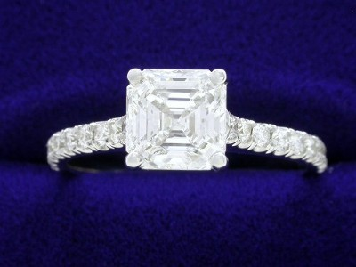 Asscher Cut Diamond Ring: 1.23 carat with 0.25 tcw pave mounting