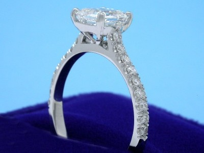 Asscher Cut and Pave Diamond Ring