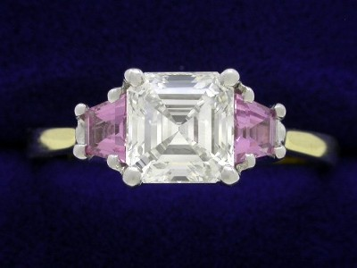 Asscher Cut Diamond Ring: 1.24 carat with 0.37 tcw Pink Sapphire Trapezoids