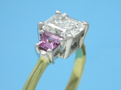 Asscher Diamond and Pink Sapphire Trapezoid Ring