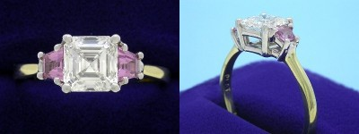 Asscher Cut Diamond Ring: 1.24 carat in 0.37 tcw Pink Sapphire Trapezoid Mounting