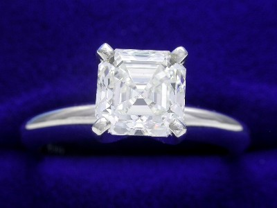 Asscher Cut Diamond Ring: 1.25 carat H VS1 in Solitaire style mounting
