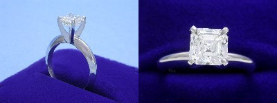 Asscher Cut Diamond Ring: 1.25 carat in four-prong Solitaire style mounting