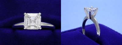 Asscher Cut Diamond Ring: 1.33 carat in four-prong Solitaire style mounting