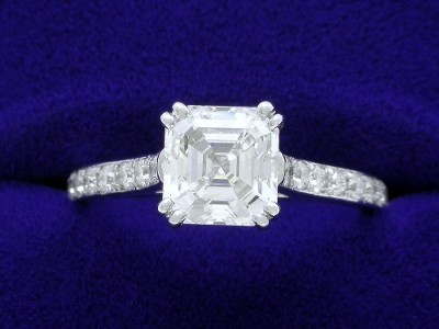 Asscher Cut Diamond Ring: 1.51 carat with 0.28 tcw pave mounting