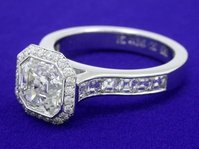 Pave Diamond Halo Around the Asscher