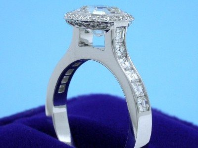 Asscher Ring with Bez Ambar Designer Mounting