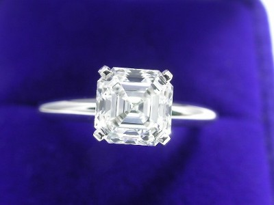 Royal Asscher Cut Diamond Ring: 1.54 carat E VS1 in Solitaire Style Mounting