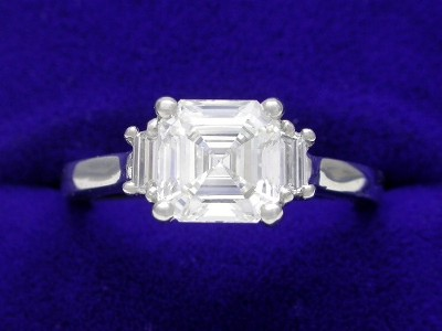 Asscher Cut Diamond Ring: 1.58 carat with 0.20 tcw Step-Cut Trapezoid Diamonds