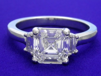 Asscher and Step-Cut Trapezoid Diamond Ring