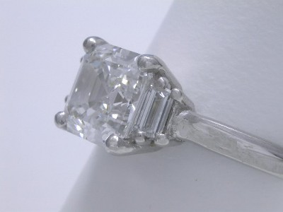 Asscher with Step Cut Trapezoid Diamonds
