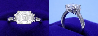 Asscher Cut Diamond Ring: 1.58 carat in 0.20 tcw Step-Cut Trapezoid Three Stone Mounting
