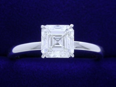 Asscher Cut Diamond Ring: 1.61 carat H VS2 in Basket Style Solitaire Mounting
