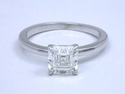 Asscher cut diamond ring is solitaire mounting