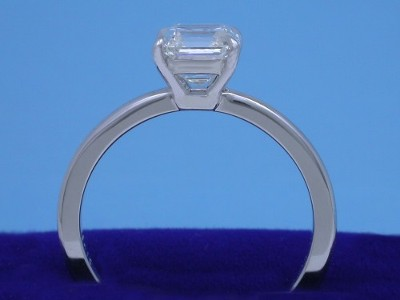 Asscher cut diamond in basket-style mounting