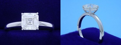 Asscher Cut Diamond Ring: 1.61 carat in Basket-Style Solitaire mounting
