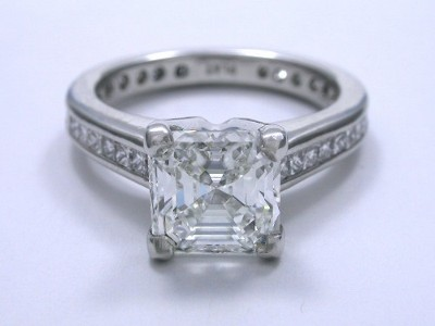 Asscher Diamond Ring with Leo Ingwer Designer Mounting