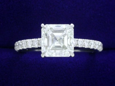Asscher Cut Diamond Ring: 1.80 carat with 0.33 tcw pave mounting