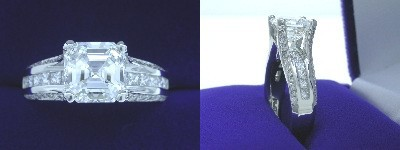 Asscher Cut Diamond Ring: 2.24 carat in 0.80 tcw Channel-Set Princess mounting