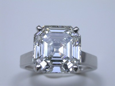Asscher Cut Diamond Ring: 5.27 carat in Cathedral Mounting