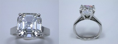Asscher Cut Diamond Ring: 5.27 carat in Cathedral style mounting