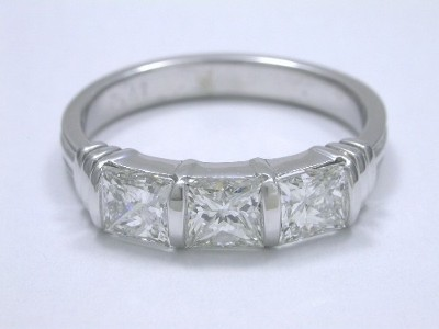 Diamond Wedding Band: 1.11 tcw Princess Cut 3-Stone Bar Set Band