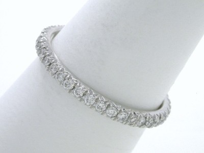 Diamond Wedding Band: 0.39 tcw Round Pave Set Diamond Eternity Band