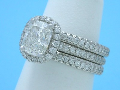 Diamond Wedding Band: 0.44 tcw Round French Split Set Pave with matching engagement ring