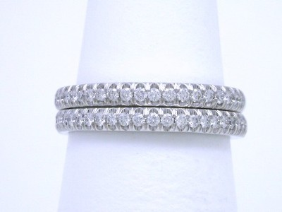Diamond Wedding Band: 0.44 tcw Round French Split Set Pave