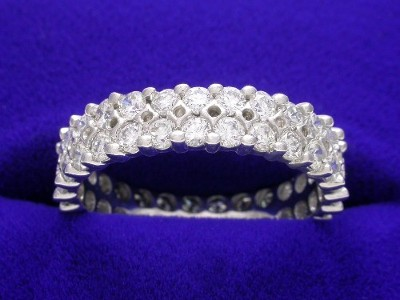 Diamond Wedding Band: 1.50 tcw Round Two Row Shared Prong Eternity Band