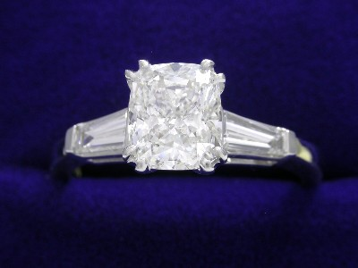 Cushion Cut Diamond Ring: 1.02 carat with 1.19 ratio and 0.38 tcw Tapered Baguettes