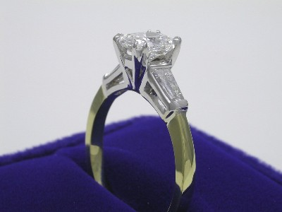 Cushion and Tapered Baguette Diamond Ring