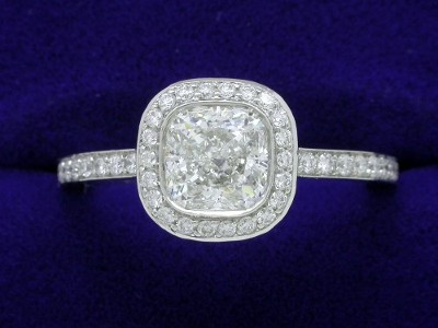 Cushion Cut Diamond Ring: 1.03 carat with 1.00 ratio and 0.26 tcw Bez Ambar mounting