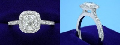 Cushion Cut Diamond Ring: 1.03 carat with 1.00 ratio in 0.26 tcw Bez Ambar designer pave mounting
