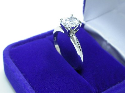 Cushion Cut Diamond Ring: 1.04 carat with 1.23 ratio in Solitaire style mounting