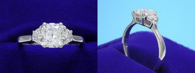 Cushion Cut Diamond Ring: 1.06 carat with 1.07 ratio in 0.24 tcw Half Moon Diamond custom mounting