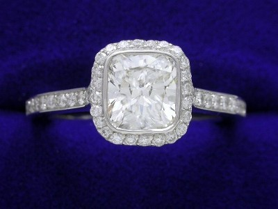 Cushion Cut Diamond Ring: 1.10 carat with 1.05 ratio and 0.39 tcw Bez Ambar pave