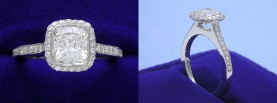 Cushion Cut Diamond Ring: 1.10 carat with 1.05 ratio in 0.39 tcw Bez Ambar designer pave mounting