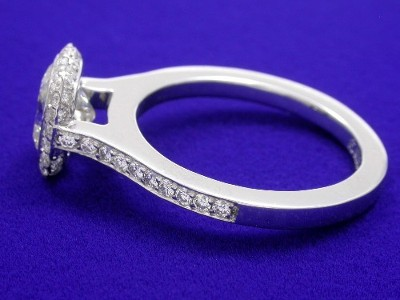 Cushion Cut Diamond Ring: 1.10 carat with 1.05 ratio and 0.39 tcw Bez Ambar pave mounting